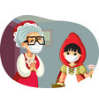 little red riding hood wearing a mask visiting vector image vector image