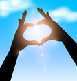 love shape hand silhouette in sky concept vector image