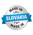 made in Slovakia silver badge with blue ribbon vector image vector image