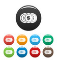 making coin icons set color vector image vector image