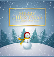 merry christmas and happy new year 2019 with snowm vector image