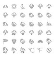 meteorology symbols and weather thin line vector image