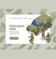 military special forces web page vector image vector image