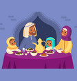 muslim family dinner arabian parents and kids vector image vector image