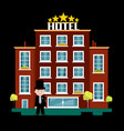 night hotel building vector image vector image