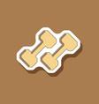 paper sticker on stylish background dumbbells vector image vector image