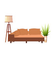 realistic orange sofa with floor lamp and vector image vector image