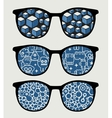 Retro sunglasses with blue reflection in it vector image vector image