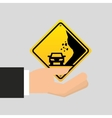 road sing caution icon vector image