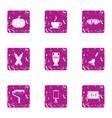 school theme icons set grunge style vector image