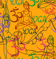 Seamless pattern of yoga poses vector image vector image
