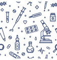 seamless pattern with medical lab equipment vector image