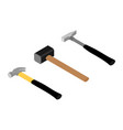 set iron hammers with black handle and sledge vector image