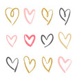 set of 12 decorative hearts vector image vector image