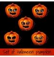 Set of five pumpkins for Halloween vector image