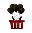 shopping online basket balloons commerce vector image