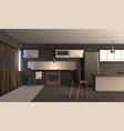 studio apartment kitchen design vector image