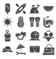 summer icons gray set on white background vector image vector image