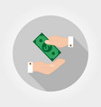 transfer money from hand to hand icon vector image vector image