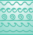 turquoise line waves set papercut style vector image vector image