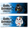 two horizontal cards on the theme of the halloween vector image vector image