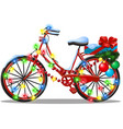 vintage bicycle decorated in christmas and new vector image