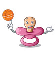 with basketball character childrens pacifiers for vector image