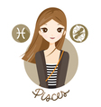 Woman With Pisces Zodiac Sign vector image