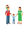 young parents posing with their son and daughter vector image
