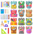 backpack and chancery sticker school sign vector image vector image
