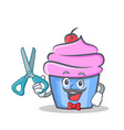 barber cupcake character cartoon style vector image vector image