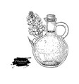 bottle of mustard oil with plant hand vector image vector image