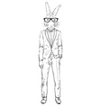 bunny dressed up in tuxedo vector image vector image