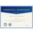 Certificate Achievement template blue theme vector image vector image
