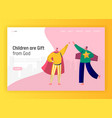 children play in superhero costume landing page vector image