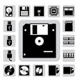 computer and storage icons set vector image vector image
