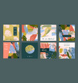 creative set templates with tropical plants and vector image vector image