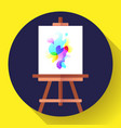 draw easel icon with canvas flat art icon vector image vector image
