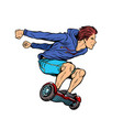 extreme teenager on hoverboard vector image