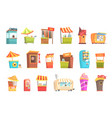 fair and market street food and shop kiosks small vector image