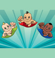 flying babies background vector image vector image