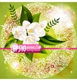 fresh green spring background with flowers vector image vector image