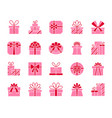 gift simple color flat icons set vector image