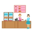 Girl Ordering A Cake At The Counter Smiling vector image vector image