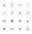 gray flat icon set 8 with rounded rectangle frame vector image vector image