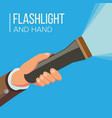 hand holding flashlight business search vector image vector image