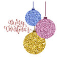hanging christmas ball gold glitter hand drawn vector image vector image
