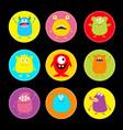 happy halloween cute monster round icon set vector image vector image
