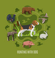 hunting with dog concept vector image vector image