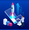 isometric business start up concept startup vector image vector image